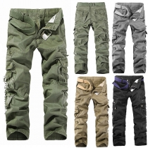 Casual Style Solid Color Multi-pocket Men's Pants