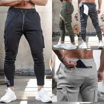 Casual Style Drawstring Waist Side-pocket Man's Sports Pants