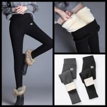 Fashion Solid Color High Waist Plush Lining Leggings