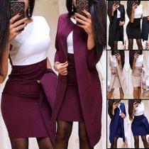 OL Style Long Sleeve Thin Cardigan + Sleeveless Dress Two-piece Set