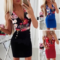 Sexy Deep V-neck Sleeveless Slim Fit Printed Dress