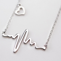 Chic Cute Heart Electrocardiogram Necklace