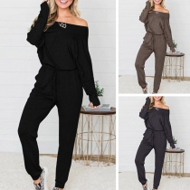 Sexy Off-shoulder Long Sleeve Drawstring Waist Solid Color Jumpsuit