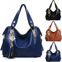 Elegant Solid Color Fringed Pendant Handbag Shoulder Bag