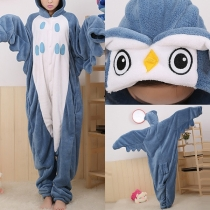 Cute Cartoon Owl Shaped Hooded One-piece Pajamas Sleepwear