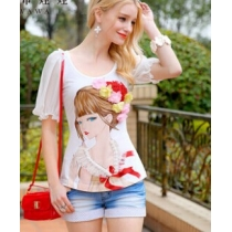 Pink Doll Women's Round Collar Puff Sleeve Cartoon Doll Pattern T Shirt