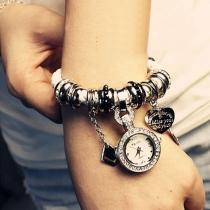 Fashion Weave  Bracelet Rhinestone Watch