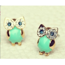 Cute Green Retro Owl Sparkly Rhinestones Stud Earring Lady Gifts
