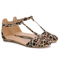 Stylish Women's Sandals With Leopard Print and T-Strap Design