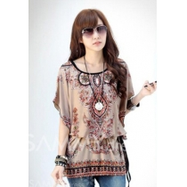 Chiffon Floral Print Scoop Neck Bat-Wing Sleeeves Retro Style Blouse For Women