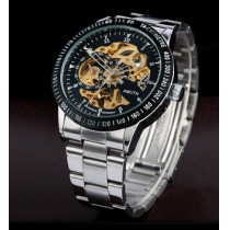 Mechanical Hollow Engraving Automatic Self-Winding Silver Alloy Band Analog Wrist Watch