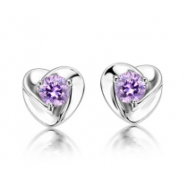 Super Flash Swiss Diamond Amethyst Stud