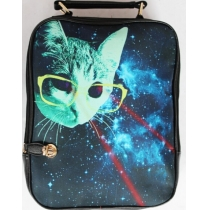 Cool Shiny Cat With Glasses Backpack Bag