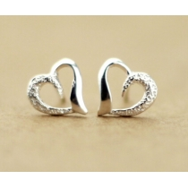Semi-Frosted Heart-Shaped Earrings