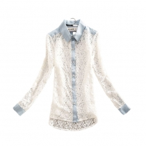 Retro Sweet  Denim Spliced Floral Cutout Lace T-shirt