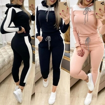 Fashion Contrast Color Long Sleeve Hooded Sweatshirt + Pants Two-piece Set