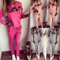 Cute Cartoon Printed Long Sleeve Hooded Sports Suit