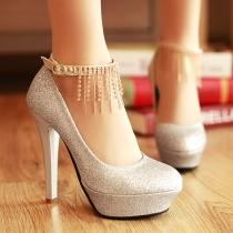 Elegant Rhinestone Tassels High-heeled Shoes