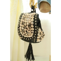 Bling Rivet Multi-button Tassel Rhinestone Shoulder Bag Backpack