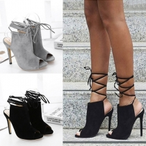 Sexy High-heeled Peep Toe Lace-up Sandals